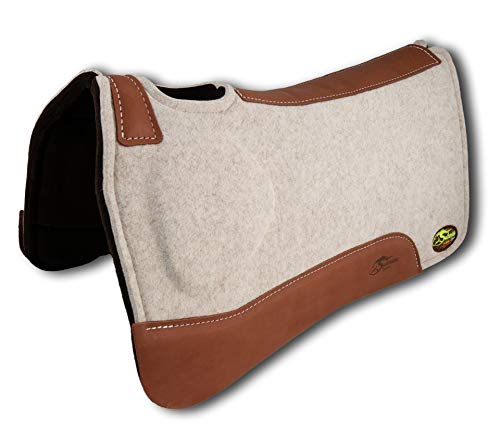 Southwestern Equine OrthoRide Elite Premium Tan Topper and Chocolate Wool Bottom Saddle Pad (31 x 32, Natural Leathers) (Best Saddle Pad For High Withers)