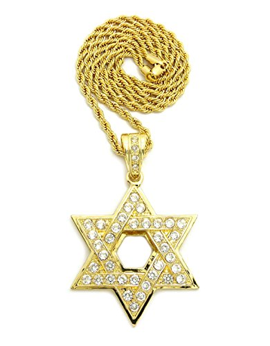 Iced Out Star - CBC CROWN ICED Out Star David Pendant Necklace (Gold Star David 24