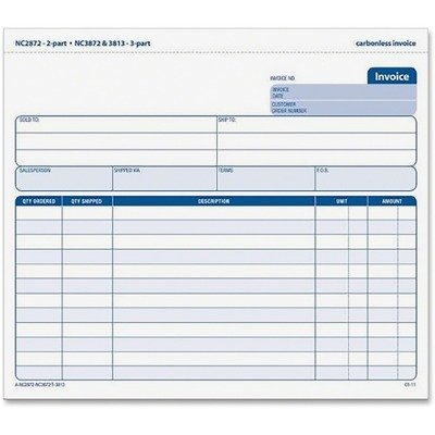 TOPS 3-Part Carbonless Invoices, 8.5 x 7.63 Inches, Ruled, 50 Sheets, White and Canary, (3813) - Snap Off Carbonless Invoices Triplicate