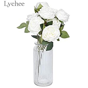 Vincent-Prestiges - 1 Bunch Simulated Rose Bouquet Artificial White Pink Rose Flower Wedding Party Decoration Home Ornament 95