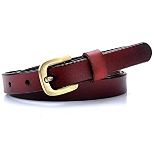 Vonsely Genuine Leather Casual Belt, 2 Sizes Choice Narrow Womens Belts for Dresses, Green Bronze Alloy Buckle, Red Brown belt 105CM