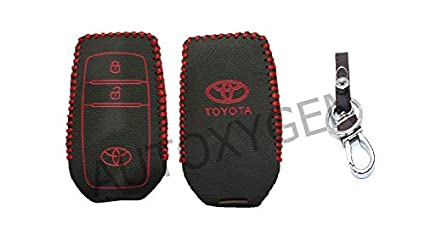Autoxygen Leather Remote Key Cover For Toyota Innova Crysta 2 Button