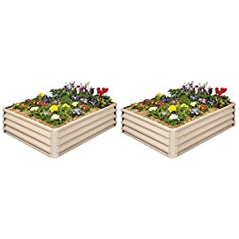 Metal Raised Garden Bed Kit - Elevated Planter Box For Growing Herbs, Vegetables, Flowers, and Succulents (2) 2 Painted Metal Raised Garden Bed