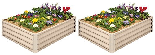 Metal Raised Garden Bed Kit - Elevated Planter Box For Growing Herbs, Vegetables, Flowers, and Succulents (2) 1 Painted Metal Raised Garden Bed