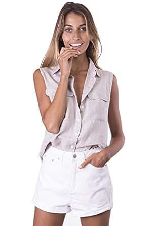 CAMIXA Women's Linen Sleeveless Button-down Two Pockets Shirt Go Cool Casual XS Natural