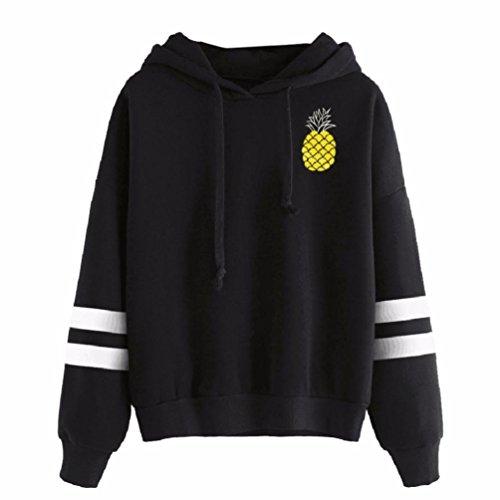 Lelili Women Fashion Round Neck Long Sleeve Pineapple Print Casual Hoodie Sweatshirt Hoodie Pullover Tops (S)