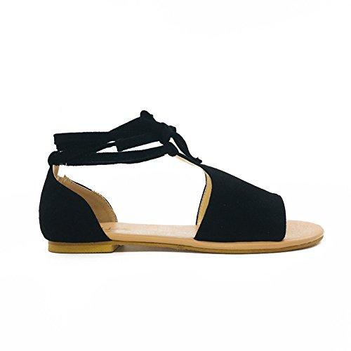 Cordones Minetom Peep Sandalias Vintage Elegante Mujer Playa Dulce De Zapatillas Toe Planos Romano Sandals Zapatos Verano Negro wwrW0HqO