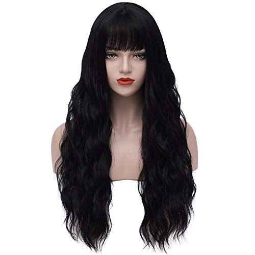 Black Wigs for Women Long Wavy Hair Wigs with Bangs Anime Cosplay Party Wigs for Halloween Heat Resistant Synthetic Fashion Wigs for Lady Girls (Black) DX030BK -