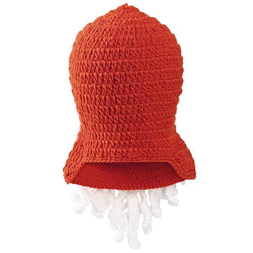 VBIGER Beard Hat Beanie Hat Knit Hat Winter Warm Octopus Hat Windproof Funny For Men & Women (Orange+White)