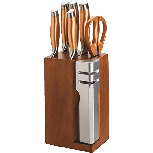 New England Cutlery Stainless Steel Knife Block Set With Detachable 2 Stage Knife Sharpener