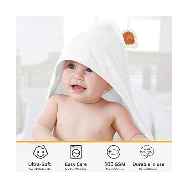 LATTCURE Accappatoio Neonato, Telo da Bagno Asciugamano per Bambini con Cappuccio Animale in Fibra di Bambù 90x90cm… 6