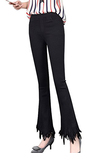 Calzoni Strappati Nove Stretch cent Clothing Nero Donne Frange Nuova Boot Pantaloni Cut Bordi Primavera Leggings Cargo Coco 47TZtwqx