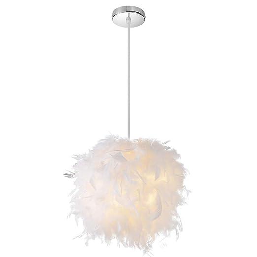 Lámpara de techo de plumas Elitlife, pantalla de color ...