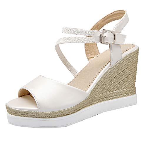 Sandales pour Cheville Blanc Ouvert Talons et Bout UH Confortables Elegantes Moyen Femmes Bride D'Ete Compensees à fqxg5