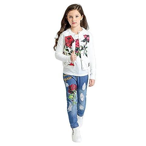Girls Denim Clothing Sets, Rose Printed Kids 3 Pcs Sets Floral T Shirt and Jeans Outfit (150, Rose) - Girls Pink Floral Denim