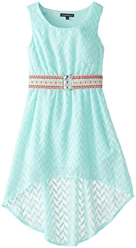 My Michelle Big Girls' Hi Low Dress with Tonal Pucker Detail and Embroidered Belt, Aqua, 12