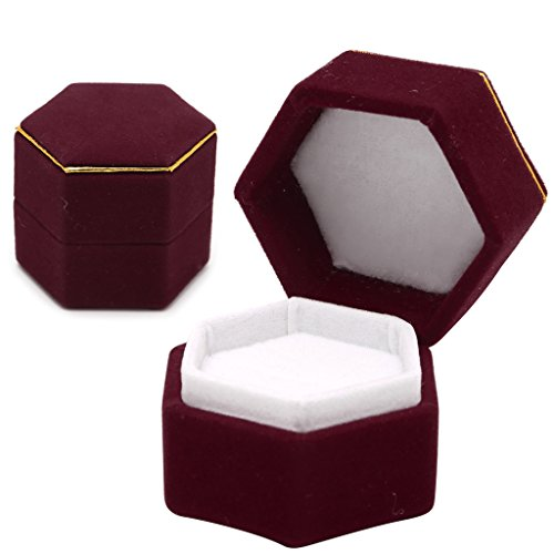 Feamos 1Pc Finger Ring Box Rings Display Holder Hexagon for Women (Burgundy)