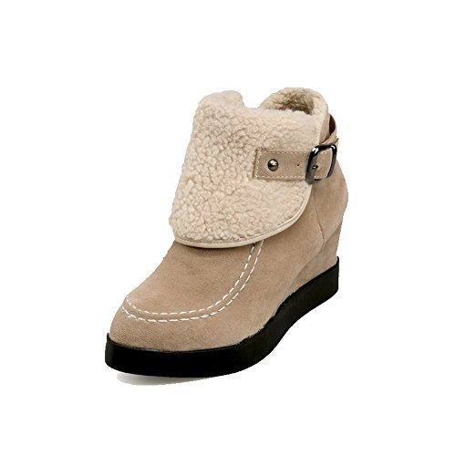 AllhqFashion Womens Imitated Suede Low-top Solid Pull-on High-Heels Boots Beige z3SpZ