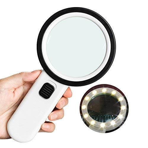 Yodooshi Lupa con luz, 30 x 80 mm, lupa para leer mapas, ligera, lentes de mano, mejor para manualidades Hobby joyas monedas,...