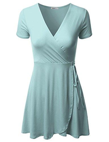 CLOVERY Women's V Neck Cap Sleeve Casual A Line Flared Elegant Layerd Skirt Dress SkyBlue M