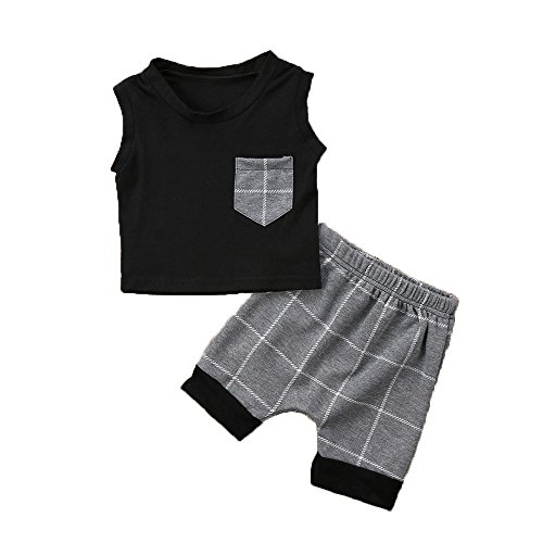 Plaid Baby Boy Outfits, Infant Baby Boys Summer Clothes Set Plaid Pocket Vest Tops +Shorts (130(4T), Black) by MOLYHUA