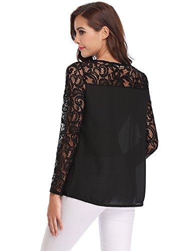 Col Pull Shirt en Manches Tops Dentelle Fleuri Chic Chemisier Haut Longues Mousseline Rond Soie Blouse T Tunique Femme Noir de Femme wq41xPvS