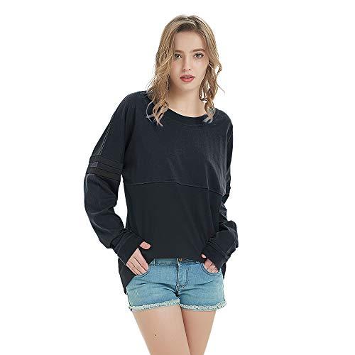 TOPTIE Women's Crewneck Pom Pom Pullover Jersey Youth Long Sleeve Baseball Tops-Black-L (Billboard Tshirt)