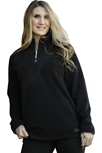 Pullover Zip Jacket Half (Lucky Love Womens Fleece Pullover Jacket, Half Zip Relaxed Fit, Womens & Plus Size Black X-Large)