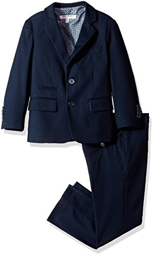 Isaac Mizrahi Boys' Textured 3pc Solid Suit, Navy, 5 by Isaac Mizrahi