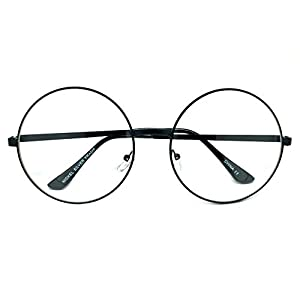 WebDeals - Extra Large Round Circle Frame Clear Lens Fashion Glasses (Black Frame, Clear)