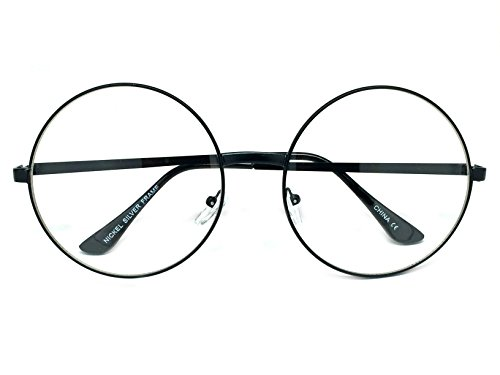 WebDeals - Extra Large Round Circle Frame Clear Lens Fashion Glasses (Black Frame, - Lenses Fashion Glasses Without