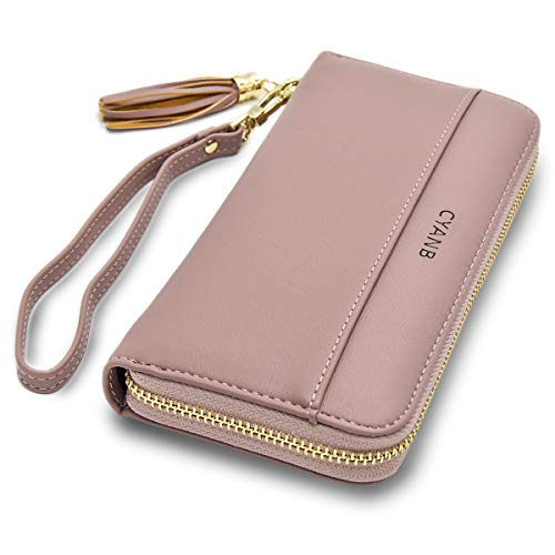 (Cyanb Women Wallets Tassel Bifold Ladies Cluth Wristlet Wrist strap Long Purse)