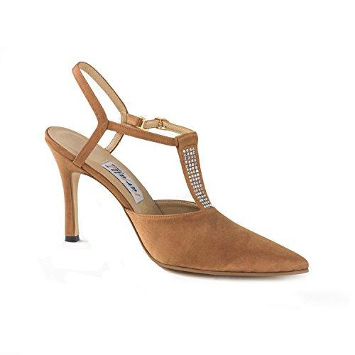 FARFALLA Satin Diamante Shoes Bronze fuFxdQwKrs