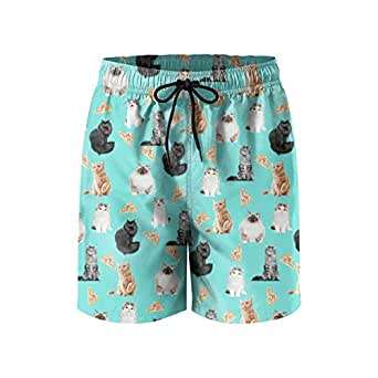 Mens Quick Dry Beach Shorts Swim Trunks Funny cat Pizza