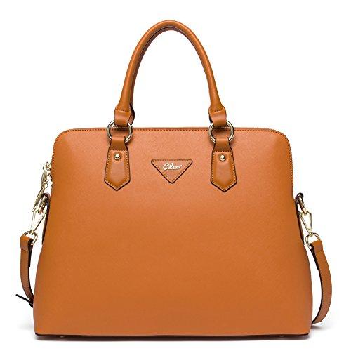 CLUCI Leather Handbags Designer Tote Shoulder Bag Satchel Purse for Women Black 2-brown