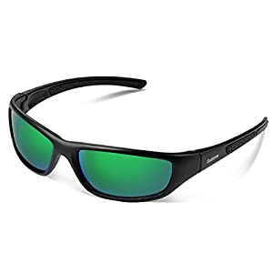 Duduma Tr8116 Polarized Sports Sunglasses for Baseball Cycling Fishing Golf Superlight Frame (Black matte frame with green lens)