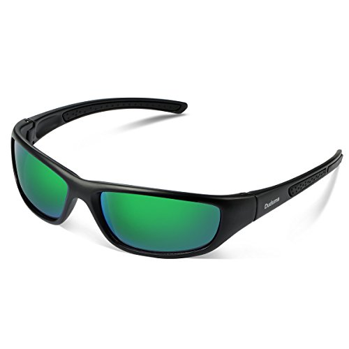 Duduma Tr8116 Polarized Sports Sunglasses for Baseball Cycling Fishing Golf Superlight Frame (Black matte frame with green - Green Sunglasses Lense
