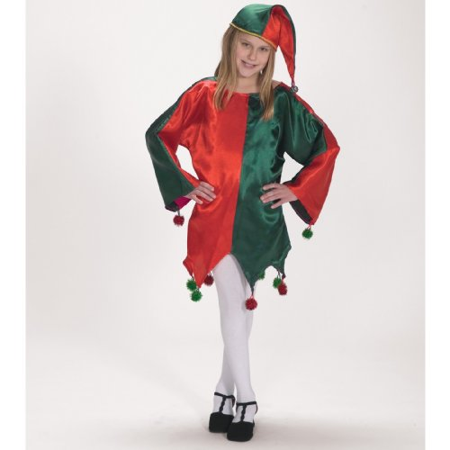 [Halco Satin Jingle Elf Child Costume 4-8 Red/Green] (Green And Red Elf Costumes)