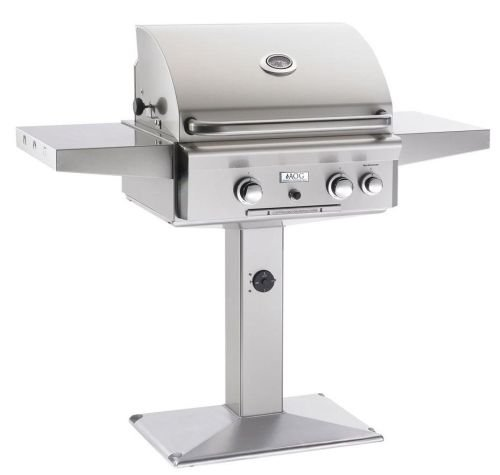 American Outdoor Grill 24NPT-00SP 24'' T Series Natural Gas Post Mount Grill Only with 432 sq. in. Cooking Surface 32 000 BTUs and Rapid Light Piezo Ignition System in Stainless by American Outdoor Grill