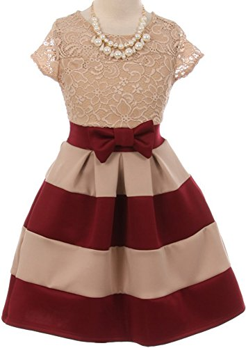 Flower Girl Dress Lace Top Stripe Pattern Skirt & Pearl Necklace