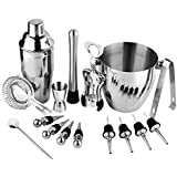 16 Pcs Stainless Steel Bar Wine Tools Martini Cocktail Shaker Full Set