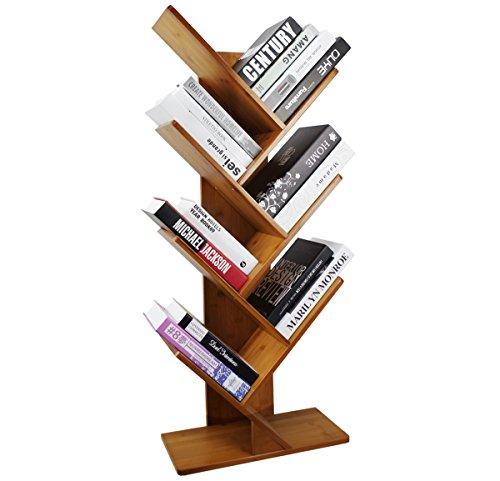 COPREE Bamboo 7-Shelf Tree Bookshelf Book Rack Display Storage Organizer Bookcase Shelving Free Standing Bookshelves for CDs, Movies & Books Holder