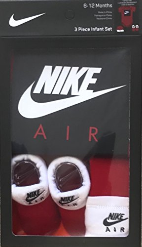 Jordan 3 Pieces Newborn Boys or Girls Gift Box 0-6 or 6-12 Months 100% Cotton | Newborn Bodysuit, Booties & Cap (Red/Black(Nike Air), 6-12 Months)