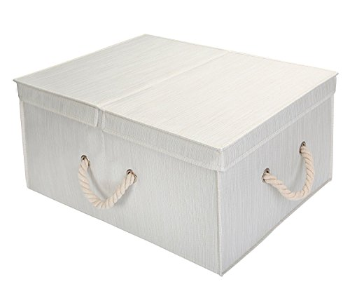 StorageWorks Polyester Storage Box with Double-open Lid and Strong Cotton Rope Handle, Foldable Clothes Closet Organizer, White, Bamboo Style, Jumbo, 65L Huge Capacity