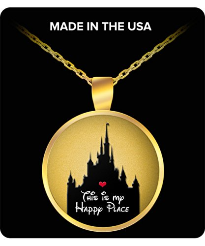 Disney Happy Place Gift for Women Necklace Castle Disneyland Heart (Disney Mickey Round Charm)