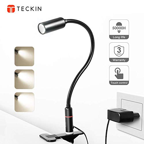 TECKIN Clip on Lamp/LED Reading Light/Desk Lamp /3 Brightness Modes/360 ° Flexible Neck,Touch Control Eye-Care Night Light Perfect for Desk,Computer and Bed Headboard (AC Adapter Included) by TECKIN
