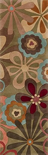 KAS Oriental Rugs Ruby Collection Retro Flora Runner, 2'3
