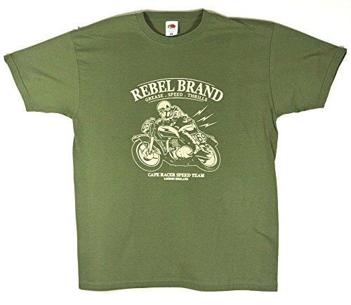 Cafe Racer 'Rebel Marke' Speed Team Motorrad T-Shirt–Größe Medium (36bis 96,5cm)–--- siehe bitte Unsere anderen Angebote für alle anderen Größen des dieses Shirt