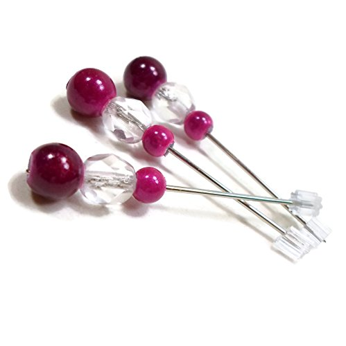 (Fuchsia Pink Clear Handmade Beaded Counting/Marking Pins for Cross Stitch and Needlepoint)