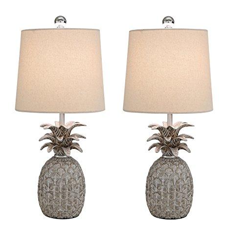 Abbyson Serena Mercury Glass Table Lamp, Set of 2, (Silver Mercury Glass Pineapple)